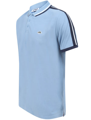 Patcham Cotton Pique Polo Shirt with Racer Stripe Tape Detail In Allure Blue - Le Shark