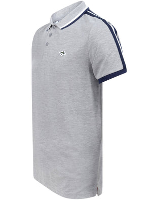 Patcham Cotton Pique Polo Shirt with Racer Stripe Tape Detail In Light Grey Marl - Le Shark