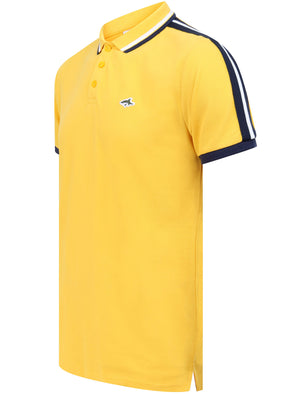 Patcham Cotton Pique Polo Shirt with Racer Stripe Tape Detail In Solar Yellow - Le Shark