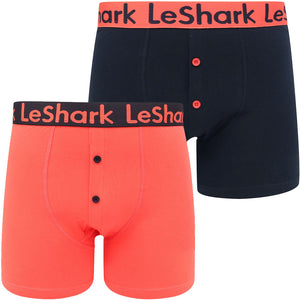 Peace (2 Pack) Boxer Shorts Set in Hot Coral / Sky Captain Navy – Le Shark