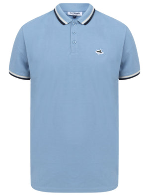 Waterloo Cotton Pique Polo Shirt with Tipping in Allure Blue - Le Shark