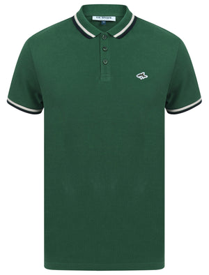 Waterloo Cotton Pique Polo Shirt with Tipping in Hunter Green – Le Shark