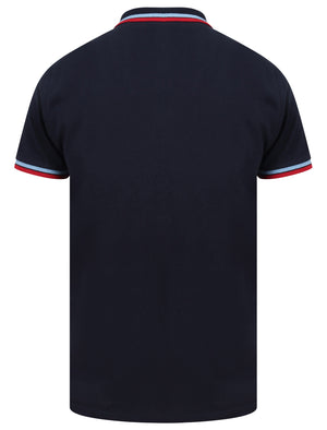 Waterloo Cotton Pique Polo Shirt with Tipping In Sky Captain Navy - Le Shark