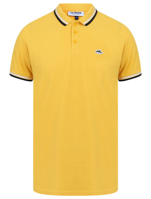 Waterloo Cotton Pique Polo Shirt with Tipping in Solar Yellow - Le Shark