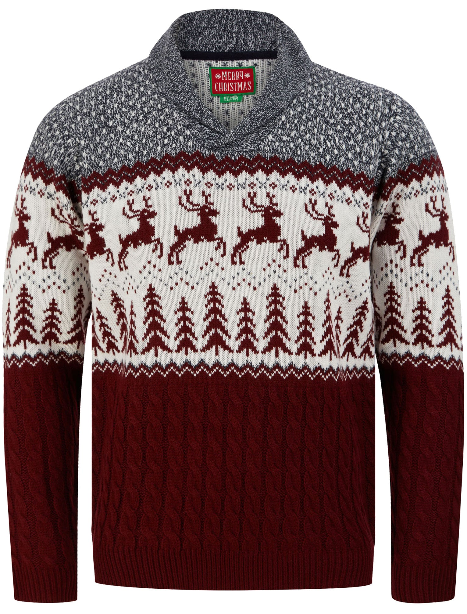 Men's Vintage Sweaters, Retro Jumpers 1920s to 1980s Jumpers Jumping Deer Shawl Neck Jacquard Knit Jumper in Claret  Merry Christmas  XXL - Tokyo Laundry £24.99 AT vintagedancer.com