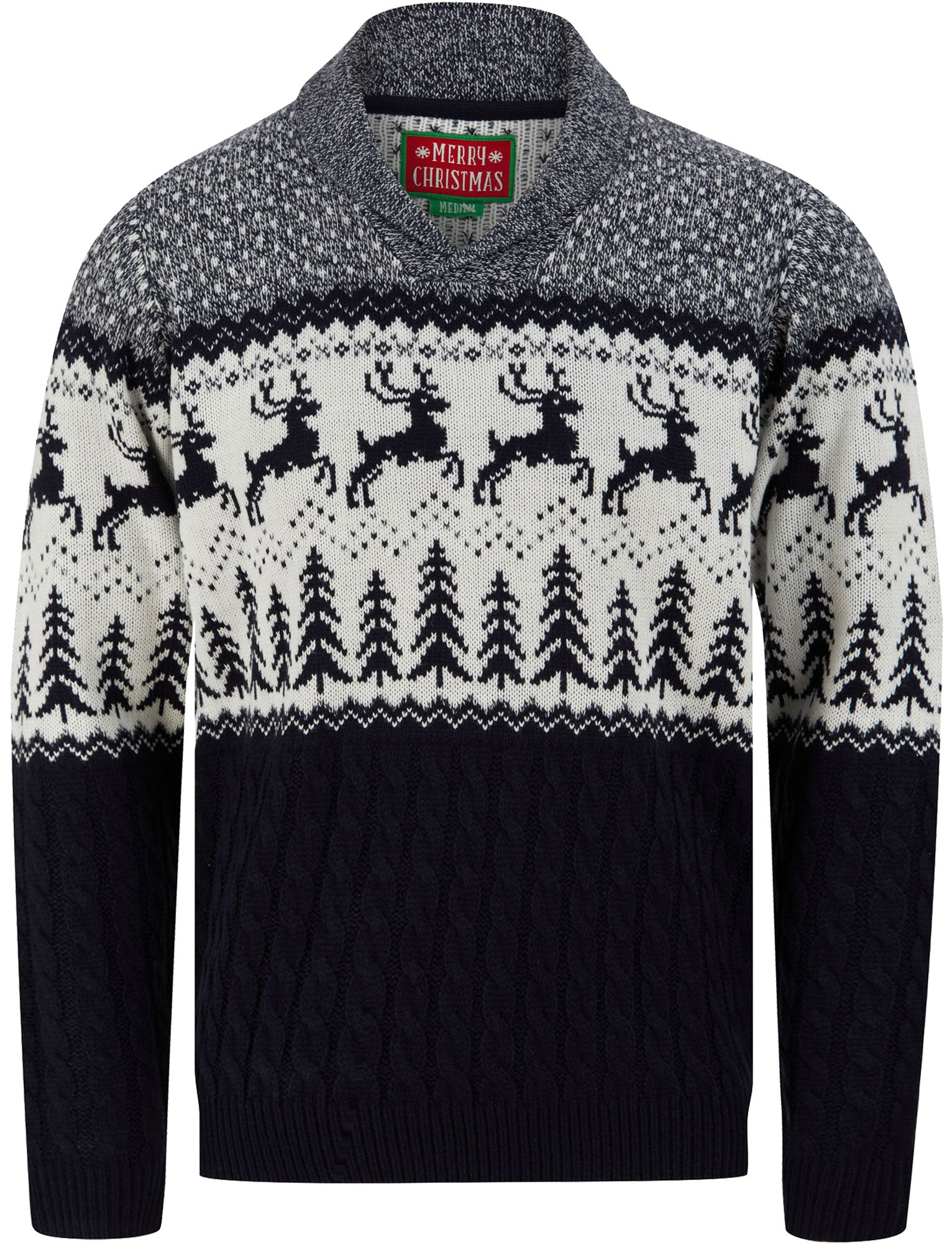 Men's Vintage Sweaters, Retro Jumpers 1920s to 1980s Jumpers Jumping Deer Shawl Neck Jacquard Knit Jumper in Ink  Merry Christmas  XXL - Tokyo Laundry £24.99 AT vintagedancer.com