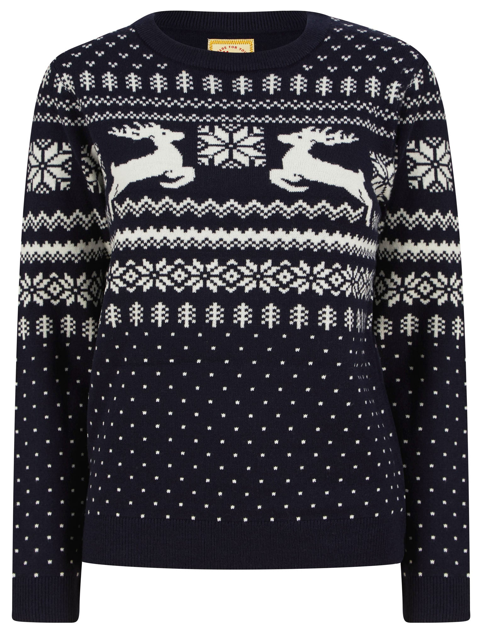 1960s Mens Shirts | 60s Mod Shirts, Hippie Shirts Jumpers Womens Lapland Jacquard Nordic Fairisle Novelty Christmas Jumper in Ink  Merry Christmas  18 - Tokyo Laundry £14.99 AT vintagedancer.com