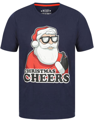 Thumbs Up Motif Novelty Cotton Christmas T-Shirt in Eclipse Blue - Merry Christmas