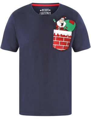 Waving Santa Pocket Motif Novelty Cotton Christmas T-Shirt in Eclipse Blue – Merry Christmas