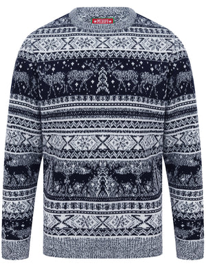 Reynisfjall Jacquard Nordic Fairisle Christmas Jumper in Ink – Merry Christmas
