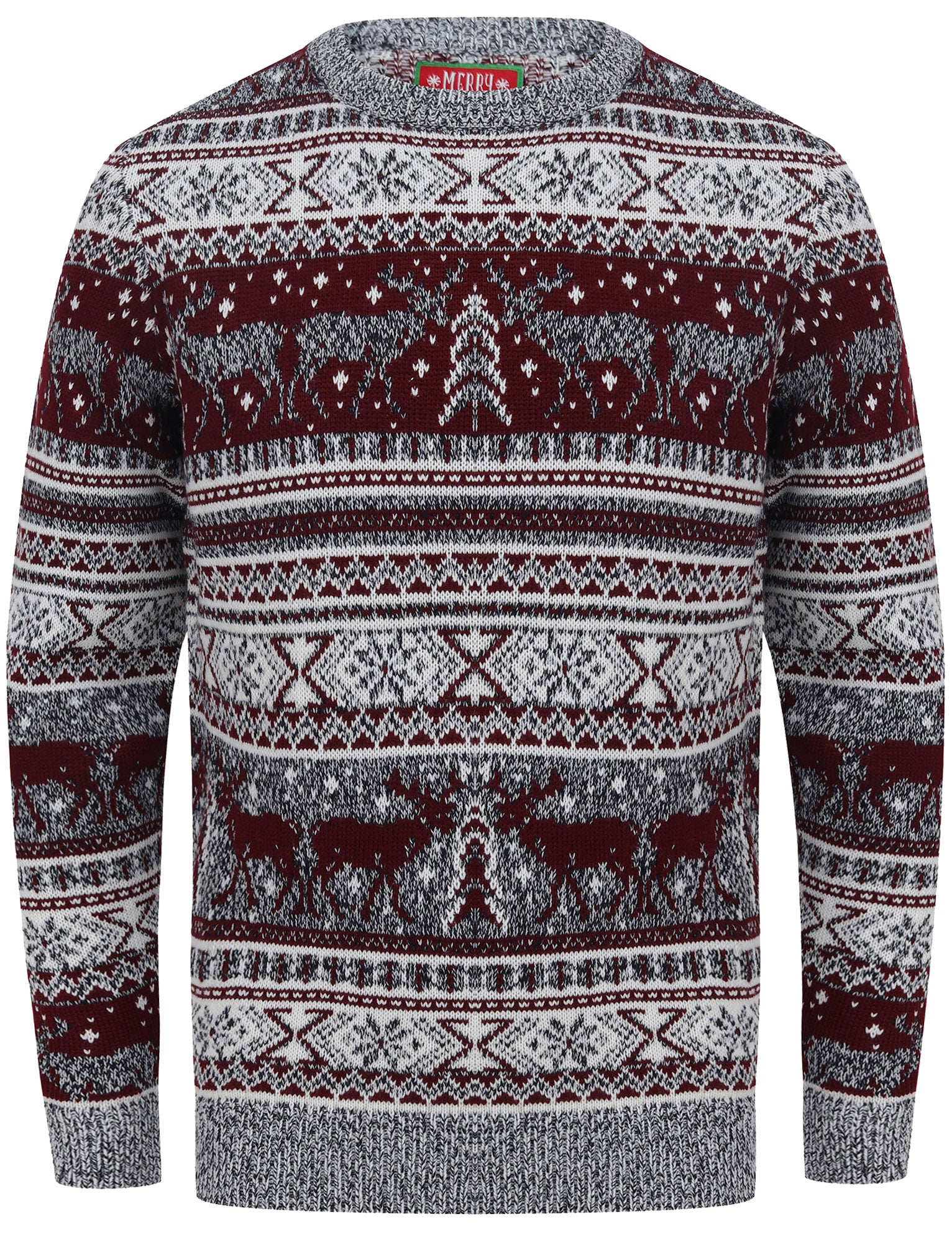 Men's Vintage Sweaters, Retro Jumpers 1920s to 1980s Jumpers Reynisfjall Jacquard Nordic Fairisle Christmas Jumper in Oxblood  Merry Christmas  XXL - Tokyo Laundry £19.99 AT vintagedancer.com