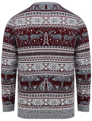 Reynisfjall Jacquard Nordic Fairisle Christmas Jumper in Oxblood – Merry Christmas