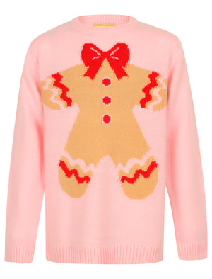 Girls Xmas Gingerbread Novelty Christmas Jumper in Almond Blossom – Merry Christmas Kids (4-12yrs)