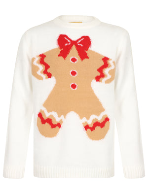 Girls Xmas Gingerbread Novelty Christmas Jumper in Snow White – Merry Christmas Kids (4-12yrs)