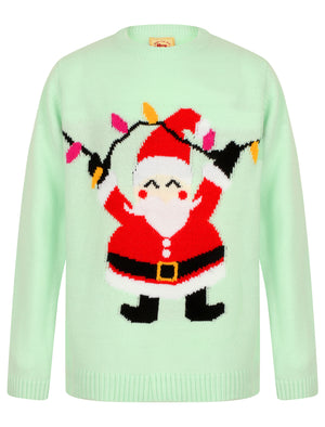 Girls Xmas Santa Novelty Christmas Jumper in Misty Jade – Merry Christmas Kids (4-12yrs)