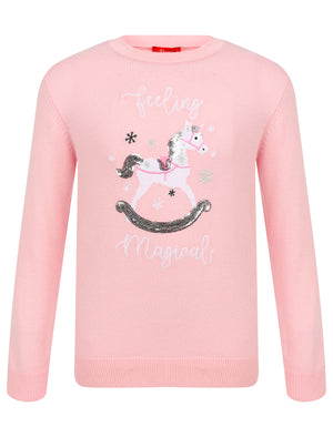 Girls Xmas Unicorn Novelty Christmas Jumper in Almond Blossom – Merry Christmas Kids (4-12yrs)