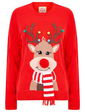 Women's Reindeer with Scarf Motif Novelty Christmas Jumper with 3D Embellishments in High Risk Red