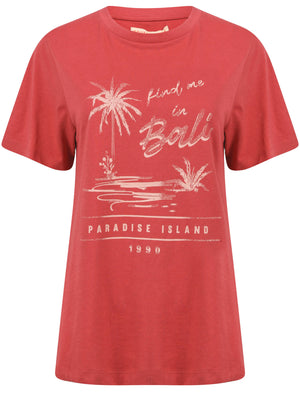 Bali Motif Cotton Crew Neck T-Shirt in Holly Berry – South Shore