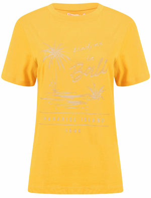 Bali Motif Cotton Crew Neck T-Shirt in Old Gold – South Shore