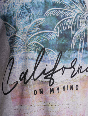 Cali On My Mind Motif Cotton T-Shirt in Light Grey Marl – South Shore