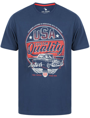 Custom Quality Motif Cotton Jersey T-Shirt in Insignia Blue - South Shore