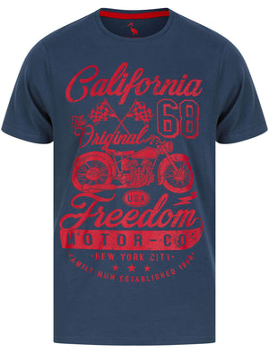 Freedom Motors Motif Cotton Jersey T-Shirt in Moonlit Ocean - South Shore