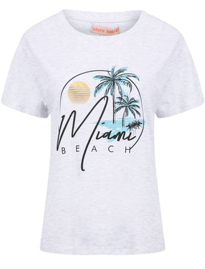 Miami Beach Motif Cotton Crew Neck T-Shirt in White Grey Marl – South Shore