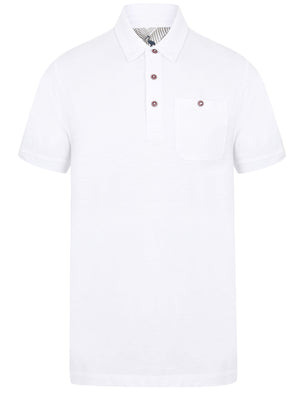 Pale Cotton Slub Polo Shirt with Chest Pocket in Optic White – South Shore