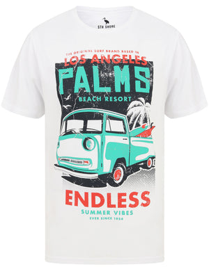 Palms Van Motif Cotton Jersey T-Shirt in Optic White – South Shore