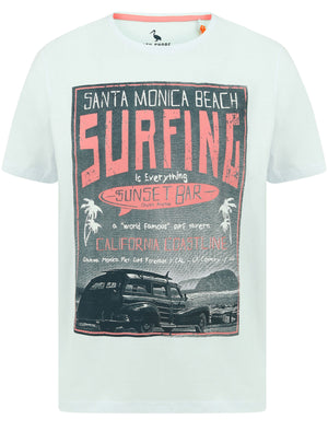 Sunset Bar Motif Cotton Jersey T-Shirt in Hint of Mint - South Shore