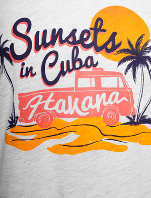 Sunsets Motif Cotton Crew Neck T-Shirt in White Grey Marl – South Shore