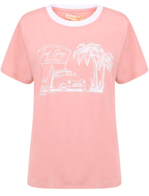 Surf Shop Motif Cotton Ringer T-Shirt in Bridal Rose – South Shore