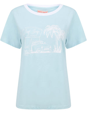 Surf Shop Motif Cotton Ringer T-Shirt in Corydalis Blue – South Shore