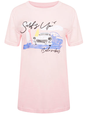 Surfs Up Motif Cotton Crew Neck T-shirt in Pink Almond Blossom – South Shore