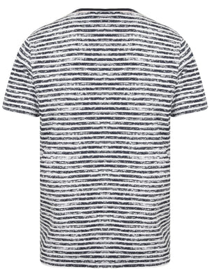 Ashwood Distressed Striped Cotton Jersey T-Shirt with Chest Pocket in Iris Navy / Optic White – South Shore