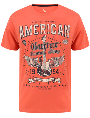 Guitar Custom Motif Cotton Jersey T-Shirt in Burnt Siena Red - South Shore