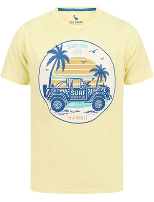 Hawaii Motif Cotton Jersey T-Shirt in Pastel Yellow – South Shore