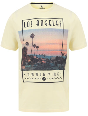 LA Summer Vibes Motif Cotton Jersey T-Shirt in Pastel Yellow - South Shore