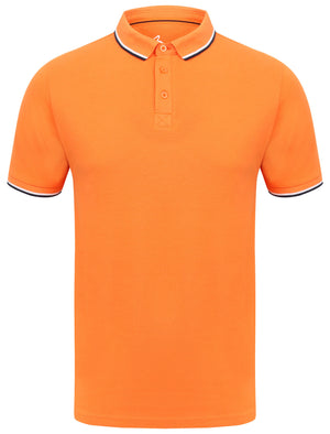 Rocky Bay Classic Cotton Pique Polo Shirt with Tipping In Orange - South Shore
