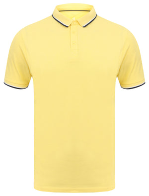 Rocky Bay Classic Cotton Pique Polo Shirt with Tipping In Yellow - South Shore
