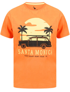 Santa Monica Motif Cotton Jersey T-Shirt in Dusty Orange – South Shore