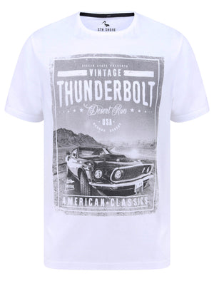 Thunderbolt Motif Cotton Jersey T-Shirt in Optic White - South Shore