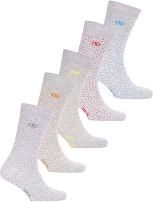 Airile (5 Pack) Cotton Rich Polka Dot Socks in Sage / Orange / Yellow / Red / Blue - Tokyo Laundry