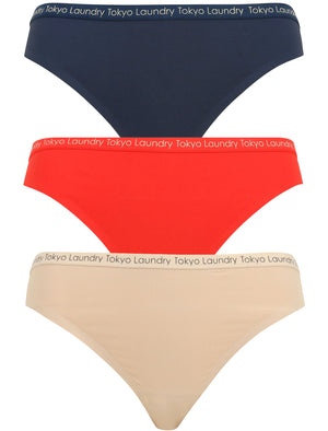 Almeria (3 Pack) No VPL Seam Free Assorted Thongs in Midnight Blue / Lollipop Red / Nude – Tokyo Laundry