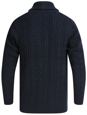 Andromeda Cable Knitted Wool Blend Cardigan with Shawl Collar In Sky Captain Navy - Tokyo Laundry