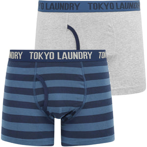 Arlo (2 Pack) Striped Boxer Shorts Set in Washed Blue / Light Grey Marl – Tokyo Laundry