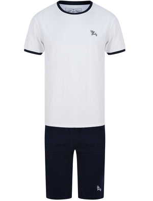 Ashes 2pc Cotton Shorts Lounge Set in Optic White / Sky Captain Navy - Tokyo Laundry