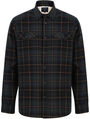 Atwell Borg Lined Cotton Flannel Checked Over Shirt in Dark Teal Check – Tokyo Laundry