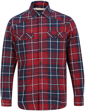 Atwell Borg Lined Cotton Flannel Checked Over Shirt in Rio Red Check – Tokyo Laundry