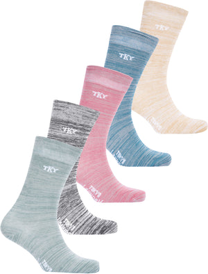 Basher (5 Pack) Cotton Rich Space Dye Socks in Sage / Black / Salmon Pink / Marine Green / Oatmeal - Tokyo Laundry